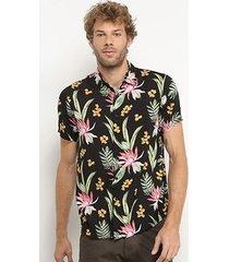 camisa broken rules manga curta floral masculina