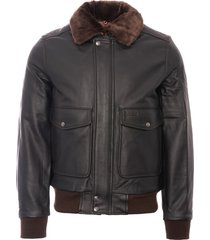 schott nyc lc5331x leather pilot jacket - antic brown lc5331x
