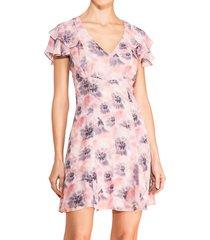 parker women's elena floral mini dress - pink - size 4