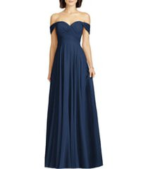 women's dessy collection lux off the shoulder chiffon gown, size 22 - blue