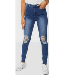 missguided distress knee cut high waisted jeans skinny