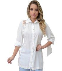 camisa mamorena recorte renda tule branco - kanui