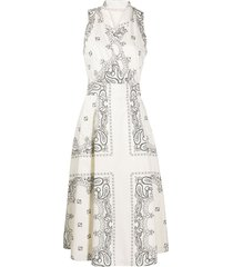 tory burch bandana-print wrap dress - neutrals
