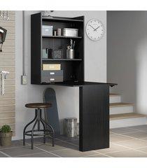 armário com mesa dobrável de parede - multimóveis preto