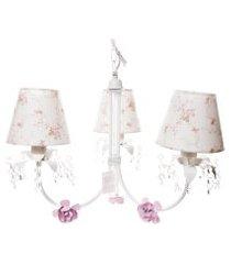 lustre 3l primavera cristais 3 flores potinho de mel rosa