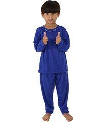 pijama  linha noite longo azul - azul - menino - poliã©ster - dafiti