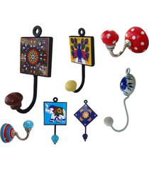 wall decor with cast iron base home decor multi colored coat ceramic wall hooks