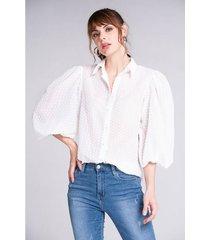 camisa plumeti oversize mangas con volumen