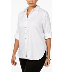 calvin klein plus size high-low button-front shirt