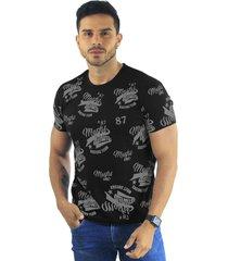 camiseta hombre manga corta slim fit negro marfil denim