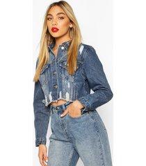 distressed cropped jean jacket, dark blue