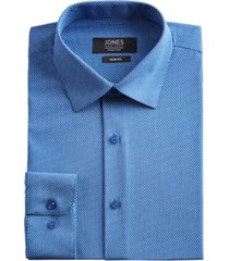 jones new york men's slim-fit performance stretch cooling tech blue/white rectangle-print dress shirt