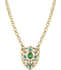 2028 gold-tone crystal shield pendant necklace