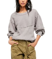 women's free people og thermal pullover, size large - beige