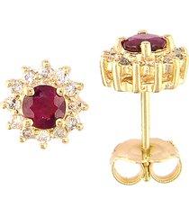 effy women's ruby royale 14k yellow gold, ruby & diamond stud earrings