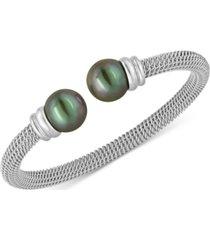 majorica bracelet, organic man made black pearl and stainless steel bangle bracelet