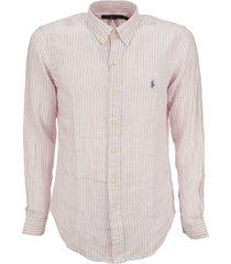 ralph lauren custom fit striped linen shirt