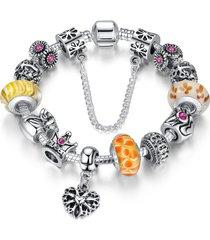 braccialetto di perle tibetane con strass placcato d'argento