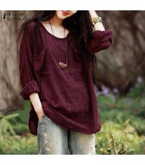 zanzea nueva camisa otoño de la llegada de las mujeres blusas flojas ocasionales de las tapas o-cuello del algodón de la manga camisas más el tamaño (vino tinto) -rojo