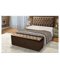 cabeceira mais calçadeira baú casal 140cm para cama box sofia suede marrom - ds móveis