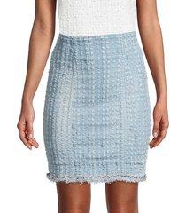 balmain women's denim pencil skirt - light blue - size 38 (6)