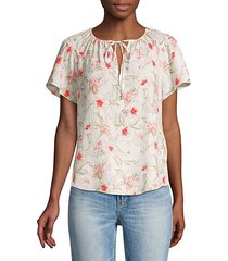 kamea tieneck floral top