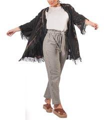 kimono adrissa negro en tai dai con flecos