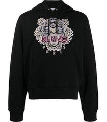 kenzo embroidered tiger hooded sweatshirt - black