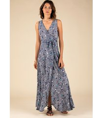 poupette st barth long bonnie layered cover up blue maze