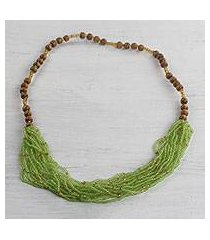 glass and wood beaded necklace, 'tasteful lime' (ghana)