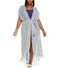becca etc plus size crochet wander cover-up kimono women's swimsuit