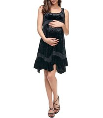 women's maternal america maternity babydoll dress, size large - black