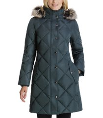 london fog faux-fur-trim hooded down puffer coat