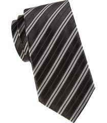 armani collezioni men's striped silk-blend tie - black
