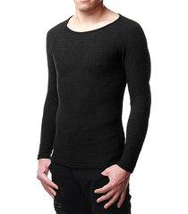 hombres liso redondo cuello delgado fit suéter