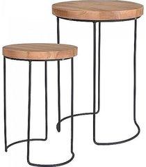 stolik kawowy 2 szt. z drewna tekowego