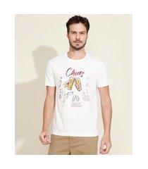 "camiseta masculina comfort cheers"" manga curta decote careca branca"""