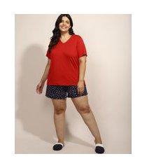 pijama feminino plus size com estampa floral manga curta azul marinho