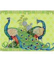 "jean plout 'peacock parade green' canvas art - 35"" x 47"""