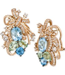 le vian crazy collection multi-stone cluster drop earrings in 14k rose gold (14-1/6 ct. t.w.), created for macy's