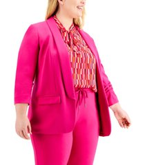 bar iii plus size ruched-sleeve blazer, created for macy's