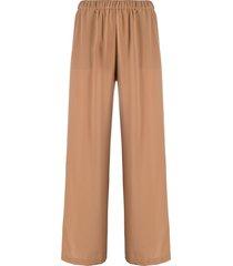 aspesi flared silk trousers - brown