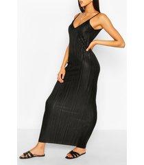 plisse strappy maxi dress, black