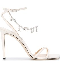 jimmy choo metz 100mm charm-embellished sandals - neutrals