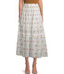 iman pleated floral midi skirt