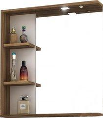 conjunto p/ banheiro c/ espelheira tecla e led gabinete c/ cuba lara 60cm mb bosi marrom - marrom - dafiti