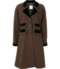 chanel pre-owned knee-length a-line coat - brown