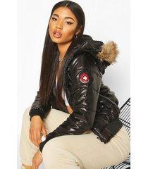 gewatteerde jas met faux fur capuchon, zwart