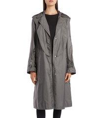women's moncler vanille tie hood water resistant trench coat, size 2 - grey