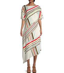st. john women's striped casual maxi dress - ecru - size s